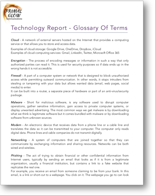 Image of a glossary
